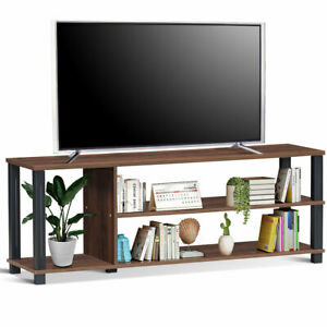 3-Tier TV Stand Wood Media Unit Console Table Storage ...