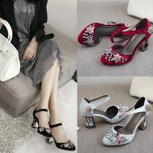 New Womens Rhinestone Mary Jane Shoes Vintage Velvet Block High Heels Shoes Size