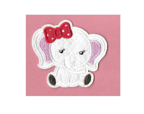 Girl Bow Baby Wild Animal Zoo Elephant Iron On Applique Patch