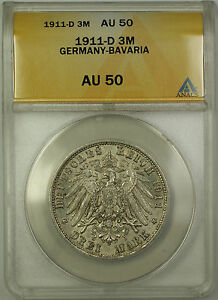 1911-D-Germany-Bavaria-3M-Three-Marks-Silver-Coin-ANACS-AU-50
