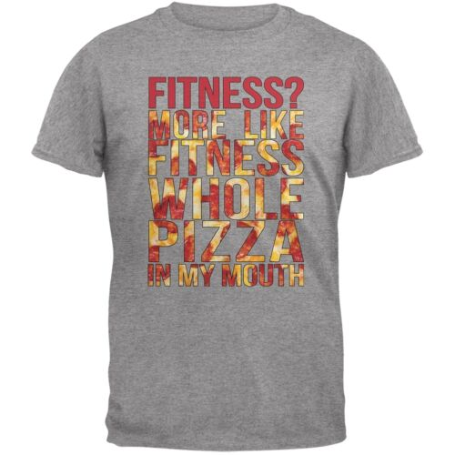 Fitness Whole Pizza In My Mouth Grey Adult T-Shirt