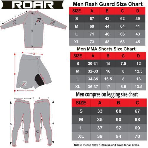 ROAR MMA Grappling Rash Guard UFC Cage Fight Training Leggings Jiu Jitsu Spats