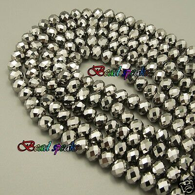 One Strand 10×8 mm Silver Plated Faceted Rondelle Glass Crystal Beads -CC343