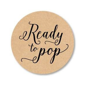 Image Is Loading Ready To Pop Round Kraft Stickers Baby Shower
