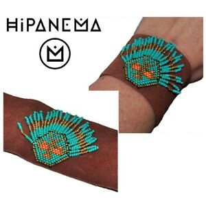 Hipanema-Bracelet-Cuff-Leather-Return-Brown-Pearl-Turquoise-Golden-Jewel