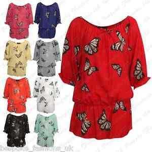 Ladies-Women-039-s-Plus-Size-Butterfly-Plain-Off-Shoulder-Sheer-Baggy-Top-Tee-14-28