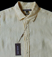 Men's Michael Kors Yellow Linen Shirt M Medium Tailored Classic Fit Wow