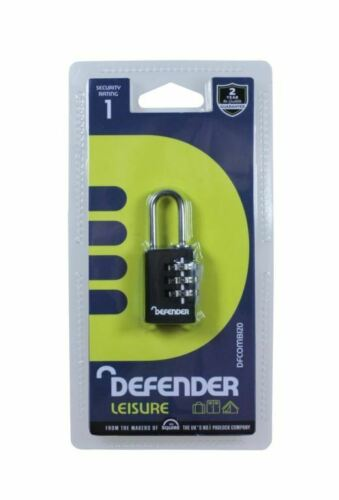 Defender Black Diecast Combi Padlock 20mm  Padlocks  Hasps DFCOMBI20