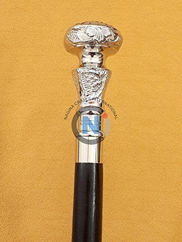Vintage Style Brass Knob head handle Victorian Look Wooden Walking Cane Stick