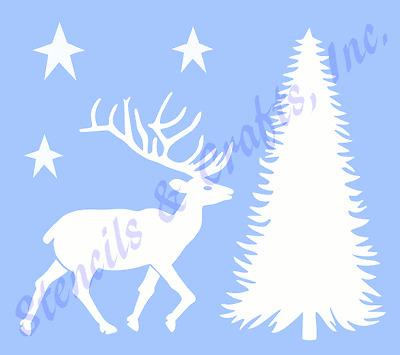 "DEER STENCIL NORTHWOODS PINE TREE STARS STENCILS STENCILS TEMPLATE NEW 6"" X 7.5"""