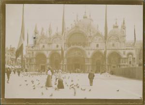 Italie-Venise-La-Basilique-Saint-Marc-1903-vintage-citrate-print-Vintage-cit