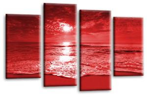 Sunset-Seascape-Wall-Art-Grey-Red-Cream-Landscape-Beach-Canvas-Split-Picture