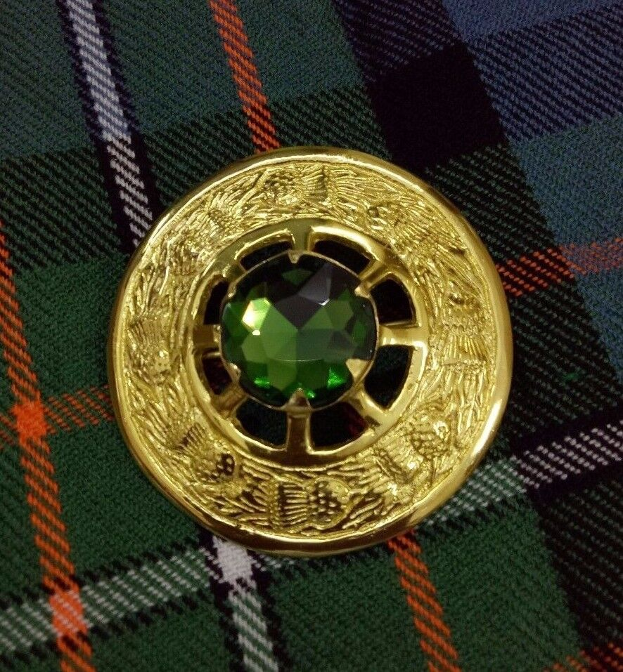 Scottish Fly Plaid Brooch Green Stone Gold Plated Ladies Sash Celtic Brooches 3