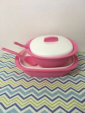 Tupperware  Legacy Rice and Sour Server Bowls w/ Spoons Set Of Two New Pink