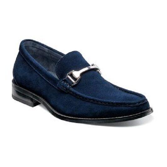 Men Stacy Adams shoes Flynn Navy Blue Suede silhouette slip on Comfort 24914-410