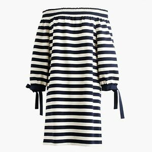 J-Crew-Shift-Dress-Womens-Size-XS-Navy-Blue-White-Striped-Off-the-Shoulder