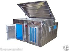Diamond Plate Aluminum Dog Box With Built-in Water Tank/Cooler & Top Storage