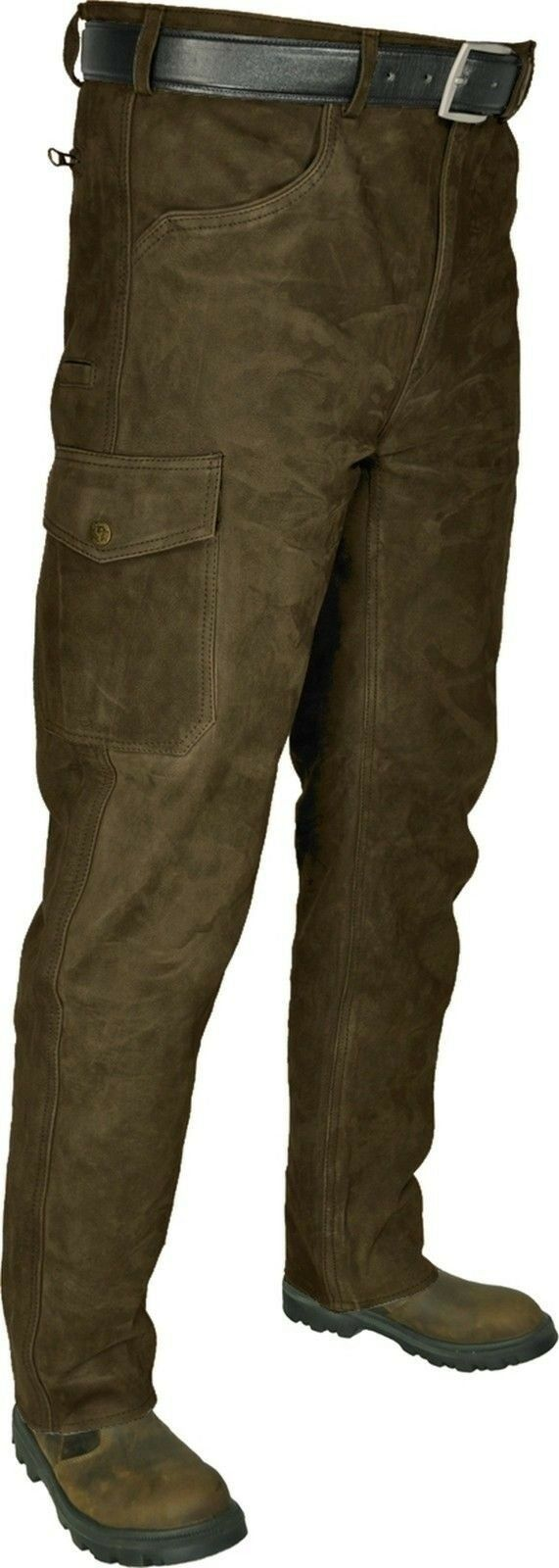 Lederhose ocio-caza pantalones Trachten semi cuero de búfalo marrón oscuro-verde oliva