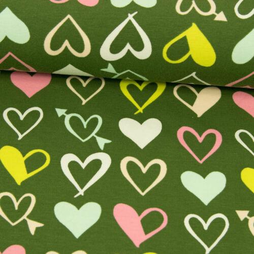 Preis gilt für 0,5 Meter Baumwolljersey Happy Hearts Pfeile Liebe Modestoffe