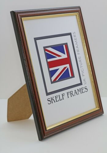 Skelf Frames DARK WOOD WITH GOLD INLAY PICTURE PHOTO FRAME with GLASS