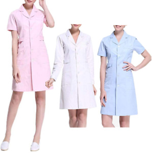 Women-039-s-Medical-Uniform-Button-Front-Hospital-Nurse-Scrub-Dress-Lab-Coat-Uniform