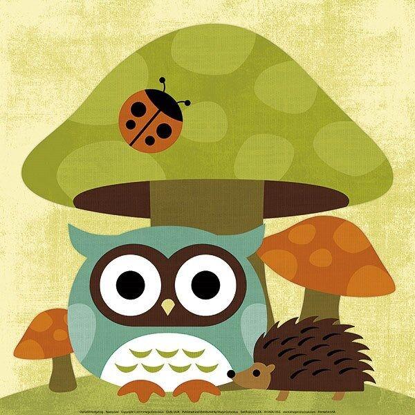 Owl and Hedghog Nancy Lee 12x12art  print poster cute kid childrens room ladybug