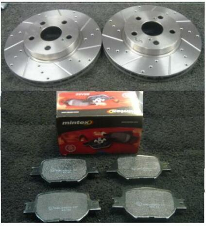 TOYOTA CELICA 1.8VVTI 190 1999-2006 DRILLED GROOVED FRONT BRAKE DISC MINTEX PADS