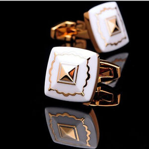 Top Gold White Mens Wedding Party Shirt Suits Cufflinks