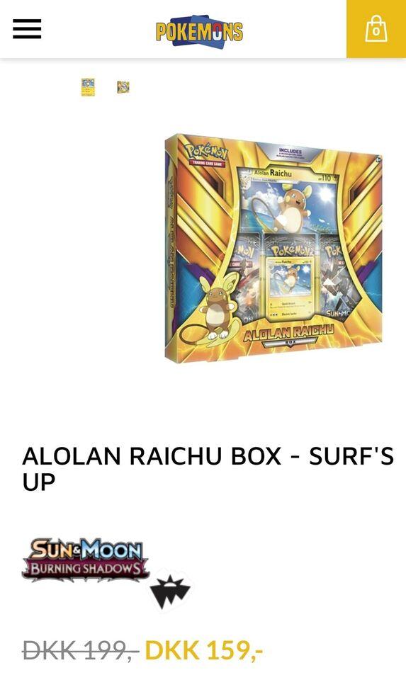Pokemon kort box med Raichu Jumbo