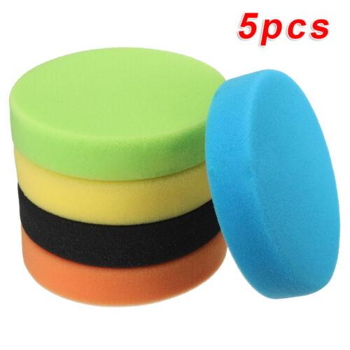 5pcs 5 Flat Sponge Buff Buffing Pads Polishing Kit Car Polisher 125mm Pack Tool