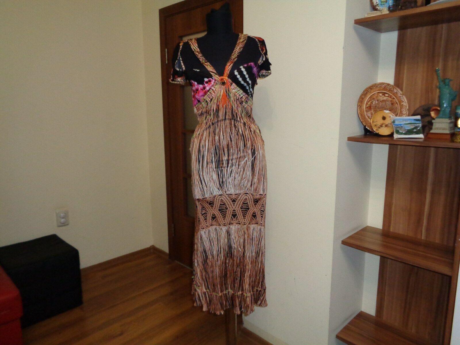 Sólo CAVALLI stretch LYCRA JERSEY MULTIColor vestido  midi Impreso Manga Casquillo-it 44  venta caliente
