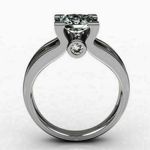 1.25 Ct Princess Diamond Solitaire Wedding Engagement Ring 14K White Gold Over 1