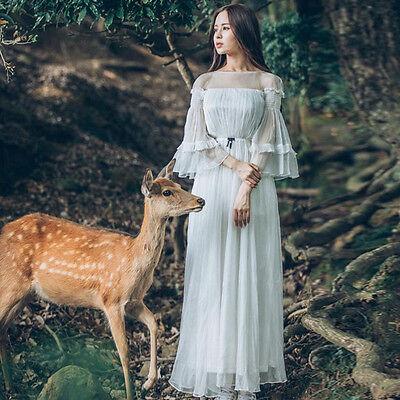 Sweet Lolita Flare Sleeve Vintage Mori Girl Slim Elegant Fairy Princess Dress