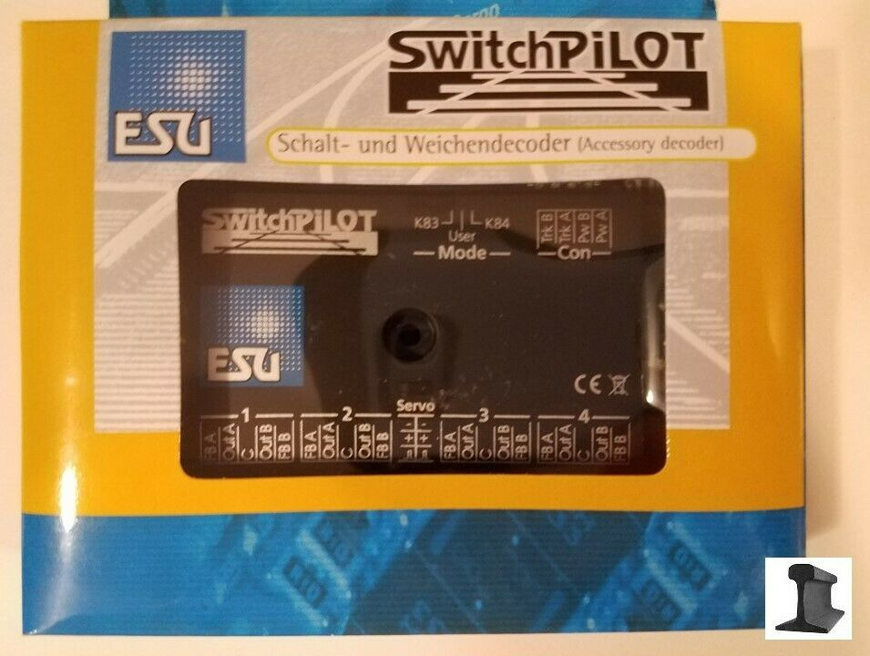 ESU 51820 New 2019 SwitchPilot V2.0 4 Twin Coil Decoder 2 x Servo DCC MM RailCom