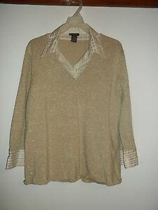 Bay-Studio-Womens-V-Neck-3-4-Sleeve-Sweater-Blouse-Size-2X