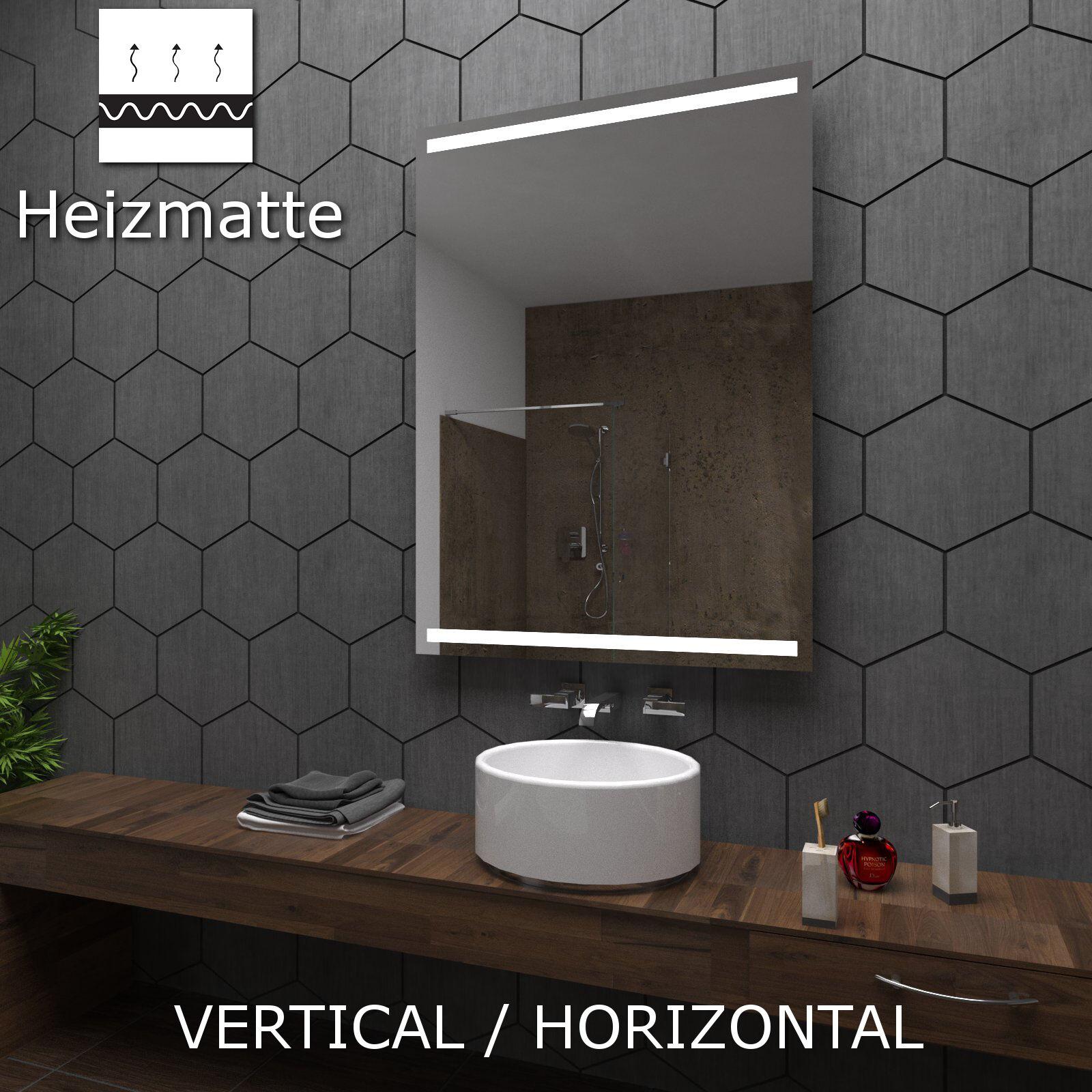 Badspiegel mit LED Beleuchtung Wandspiegel  nach Maß Heizmatte ECO+PARIS Model