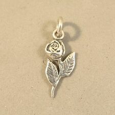 .925 Sterling Silver SINGLE STEMMED ROSE Charm NEW Pendant Flower 925 GA81