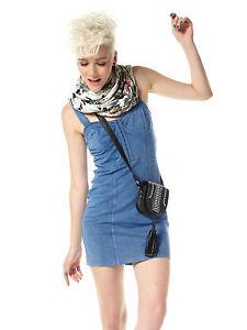Sweat-Kleid-Mini-Dress-Material-Girl-Madonna-Jeans-Blau-Gr-38-NEU