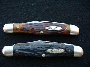 Vintage-Case-Tested-XX-2-6208-Half-Whittler-Knives-Green-Bone-amp-Rough-Black-VG