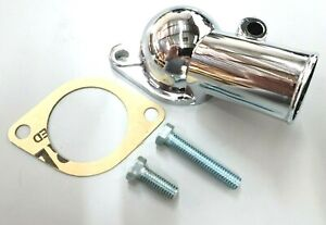 Chrome-SBC-amp-BBC-Chevy-Water-Neck-Gasket-Style-Thermostat-Housing-327-350-454