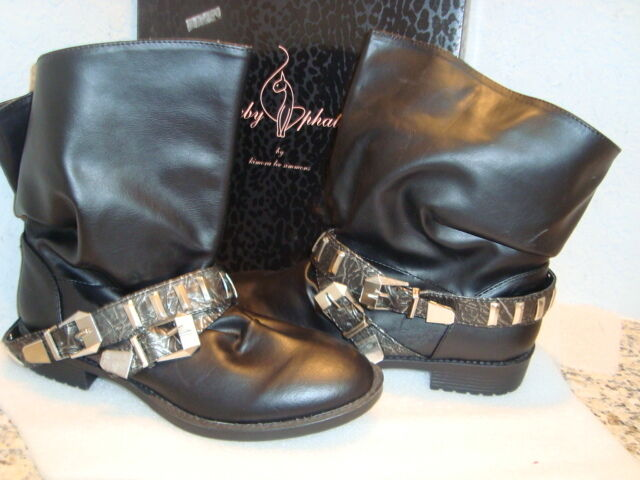 Baby Phat Womens NWB Wisia Black Ankle Boots Shoes 8 MED NEW
