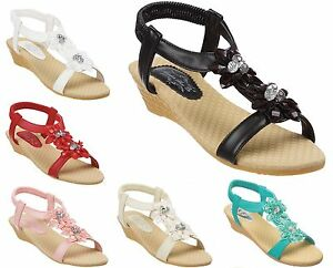 Ladies & Girls Wedge Sandals Size 3 to 8 UK Slim Fashion Fit Slingbacks -  S019