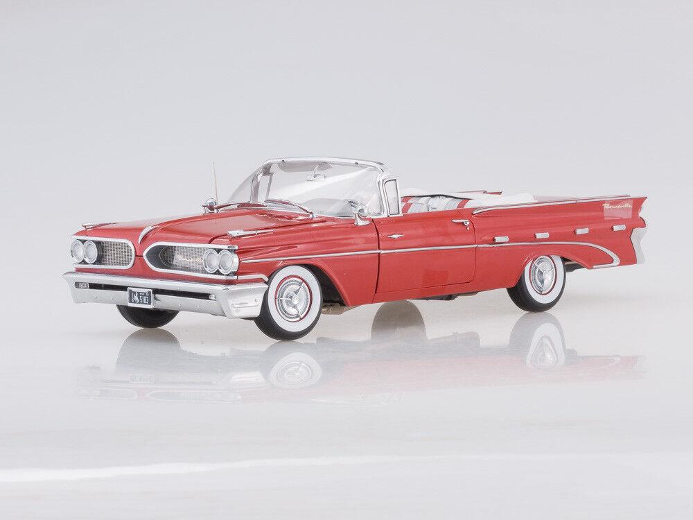 Skalmodellllerl 1  18 1959 Pontiac Bonneville öppna Congrönible (Mandalay röd)