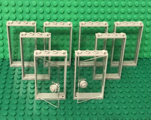 Lego X2 Transparent 1x4x6 Glass Door,X6 With Glass And Light Bluish Gray Frames