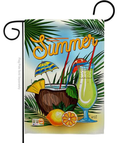 Summer Drink Garden Flag Beverages Cocktail Fruit Coconut Cool Lemon House Yard