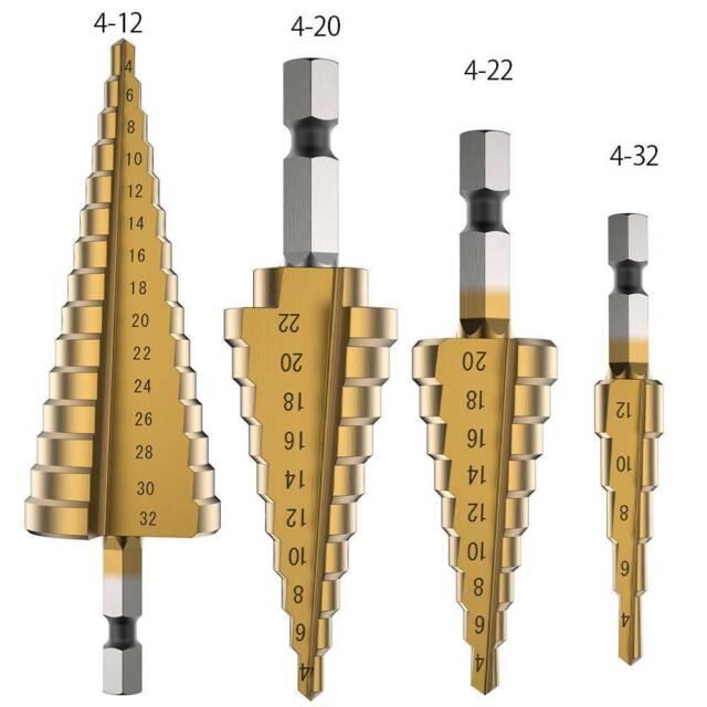 HSS Step Cone Drill Titanium Bit Set Coated Metal Wood Hole Cutter +Pouch 3PCS