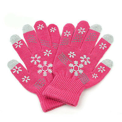 CUTE Snowflake Knitted Fingerless Phone iPad Tablet Touch Screen Gloves-HotPink