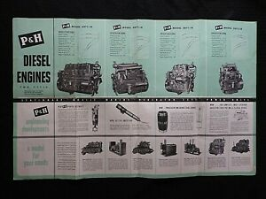 """1955 """"P & H 2-CYCLE 387 487 687 C-18 DIESEL ENGINES"""" FOLD-OUT POSTER BROCHURE"""