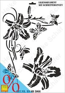 Schablone-Stencil-A3-268-5066-Lilienorn-mit-Schmett-Neu-Heike-Schaefer-Design