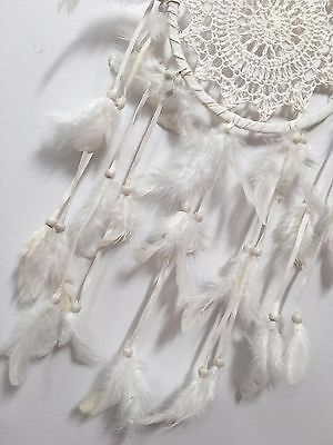IVORY WHITE CROCHET DREAM CATCHER 16 CM WEB BOHO 57 CM TOTAL LENGTH
